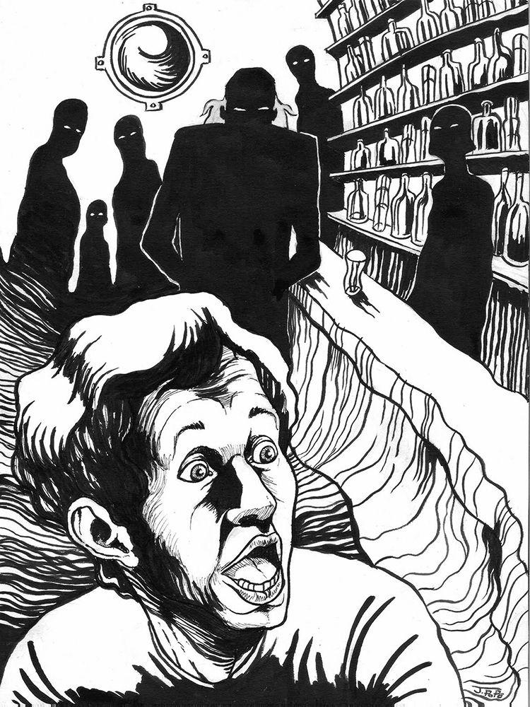 Dibujo de una persona que tiene alucinaciones